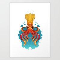 Neon Squid Art Print