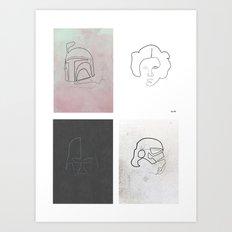 One line Starwars Poster Art Print
