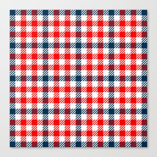 Red & Blue Gingham Pattern Canvas Print