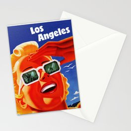 Retro Los Angeles California Travel Poster Stationery Cards