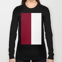 White and Burgundy Red Vertical Halves Long Sleeve T-shirt