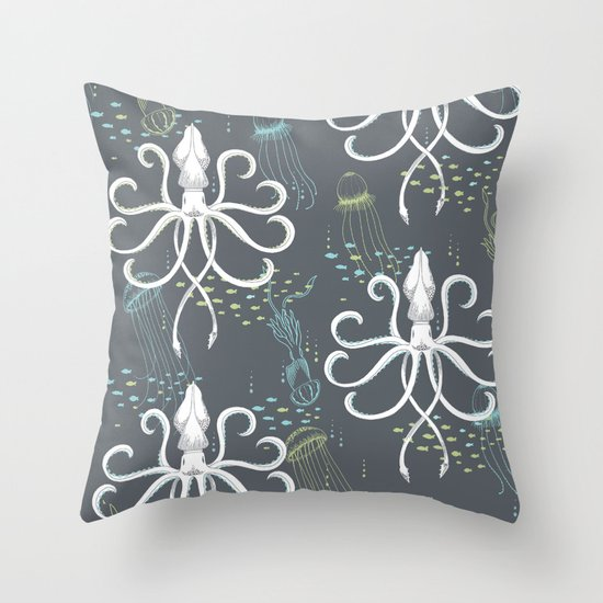 Ghostly Squid Damask Throw Pillow