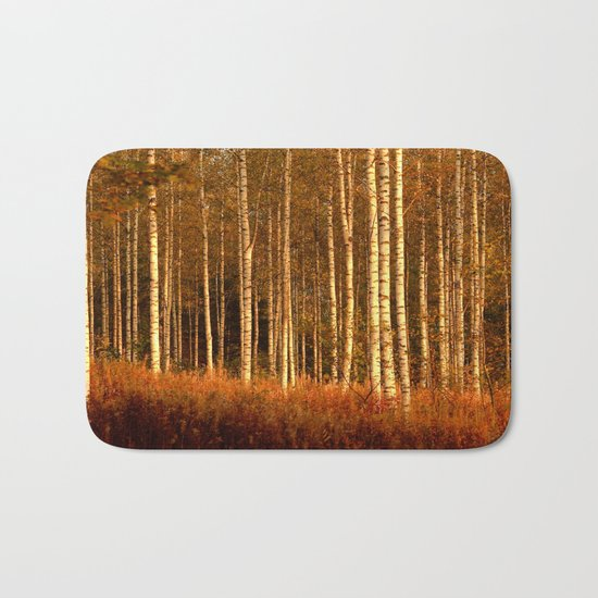 The Birches in Autumn Bath Mat