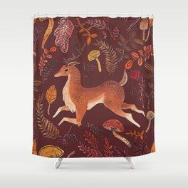 Autumn deer - red Shower Curtain