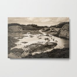 Quarry After Rain Waldhuegel Rheine Germany sepia Metal Print