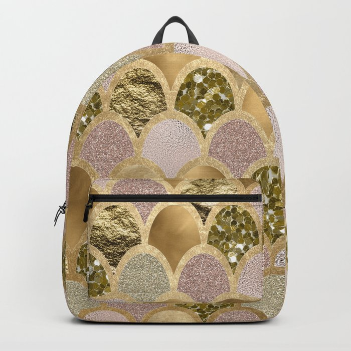 Rose gold glittering mermaid scales Backpack