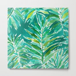 WILD JUNGLE Green Tropical Palm Metal Print