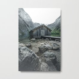 The famous wooden Boathouse at Lake Obersee in Germany Metal Print