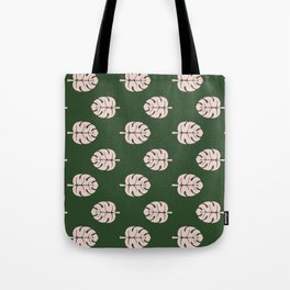 Tropical leaves Monstera deliciosa emerald and pink #monstera #tropical #leaves #floral #homedecor Tote Bag