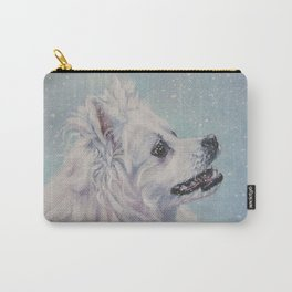 American Eskimo Dog portrait Fine Art Dog Painting by L.A.Shepard Carry-All Pouch