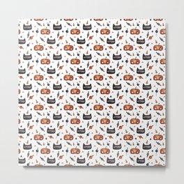 Cats and pumpkin Metal Print