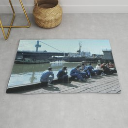 "Tug ""Gillian Knight"" aiding dredger ""Sand Serin"" through Myton Bridge on the River Hull Rug"