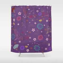 Purple Japanese kimono pattern Shower Curtain