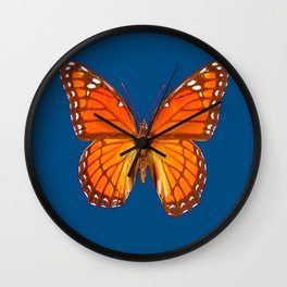 TEAL ORANGE MONARCH BUTTERFLY Wall Clock
