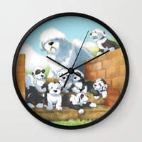 puppies Wall Clocks featuring oes puppies by Marco Barone