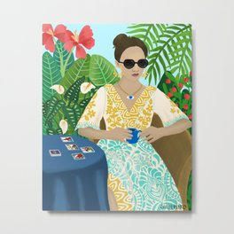 Tarot Reader Woman Mystic Cool Girl in Tropical Setting Horoscope Metal Print