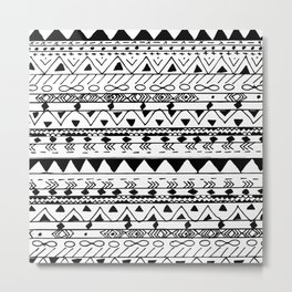 Hand painted black white watercolor aztec pattern Metal Print