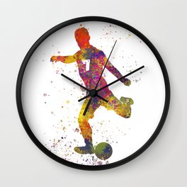 Soccer player isolated 03 in watercolor Wall Clock