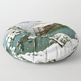 12,000pixel-500dpi - Kawase Hasui - Snow In The Seichoen - Digital Remastered Edition Floor Pillow
