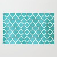 morocco Area & Throw Rugs featuring MOROCCO - AQUA by pike design