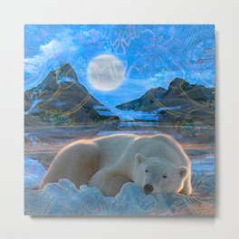 Just Chilling and Dreaming (Polar Bear) Metal Print