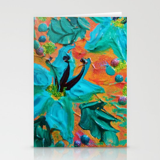 BLOOMING BEAUTIFUL 2 - Modern Abstract Acrylic Tropical Floral Painting, Home Decor Gift for Her Stationery Cards