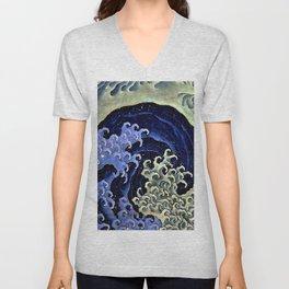 """Hokusai (1760–1849) """"Femenine wave"""" Unisex V-Neck"""