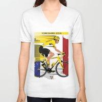 tour de france V-neck T-shirts featuring Grand Depart Yorkshire Tour De France  by Wyatt Design
