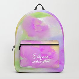 Silence is Underrated Quote Romantic Floral Blue Watercolor Purple Pink Flowers Backpack