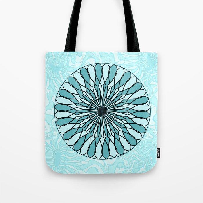 Teal and mint mandala Tote Bag