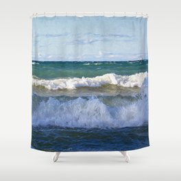 Huron Waves Shower Curtain