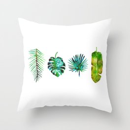 Four Tropical Leaves Throw Pillow