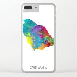 Saudi Arabia Watercolor Map Clear iPhone Case