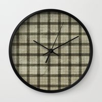 plaid Wall Clocks featuring Plaid by Joanne Anderson