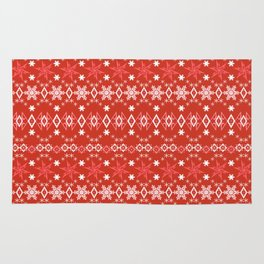 Red white Christmas ornament Rug