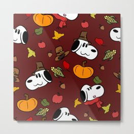 Harvest Puppy Pattern Metal Print