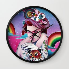 In the Candy Clouds of the Sticker Kingdom Wall Clock