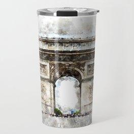 Arc de Triomphe, Aquarell Travel Mug