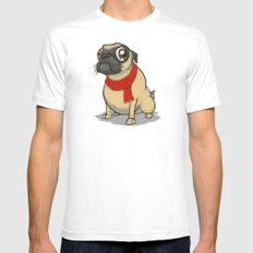Pug with a scarf Mens Fitted Tee White SMALL