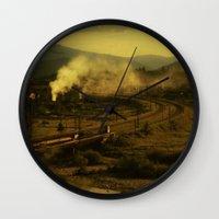train Wall Clocks featuring train by MartaSyrko