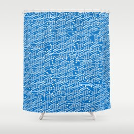 Microchip Pattern (Blue) Shower Curtain