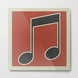 eighth note red Metal Print