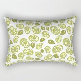 Olive Green Floral Pattern Rectangular Pillow