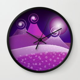 Fantasy Moonlit Mountains in pink Wall Clock