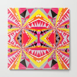 psychedelic geometric symmetry abstract pattern in red yellow orange black Metal Print