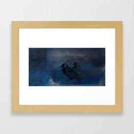 Two little crows blue sky dark night Framed Art Print