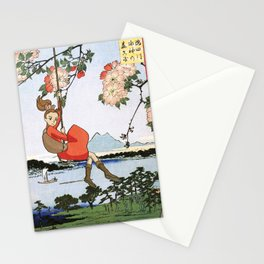Arrietty landing - a japanese woodblock mashup Stationery Cards