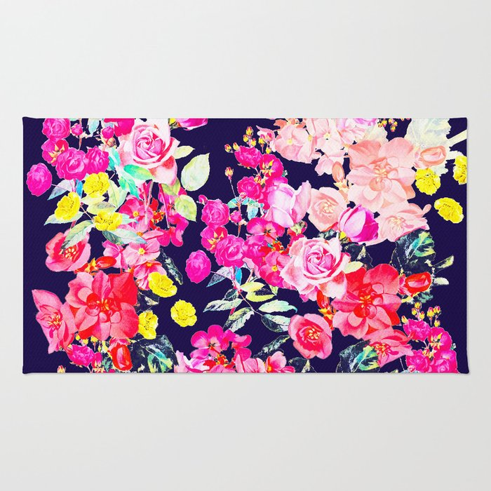 Summer Bright Antique Floral Print with Hot Pink, Yellow, and Navy V2 Rug