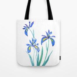 blue iris watercolor Tote Bag