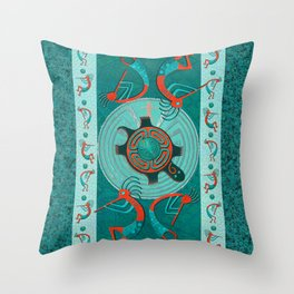 Visitors Anasazi Folk Art Throw Pillow